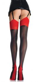 Coquette Contrast Stockings in Black with Red Seam